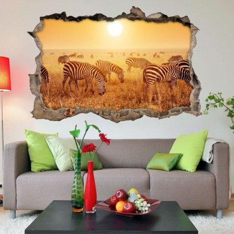 Vinilo Roto 3D Cebras Safari