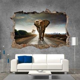 Vinilo Roto 3D Elefante