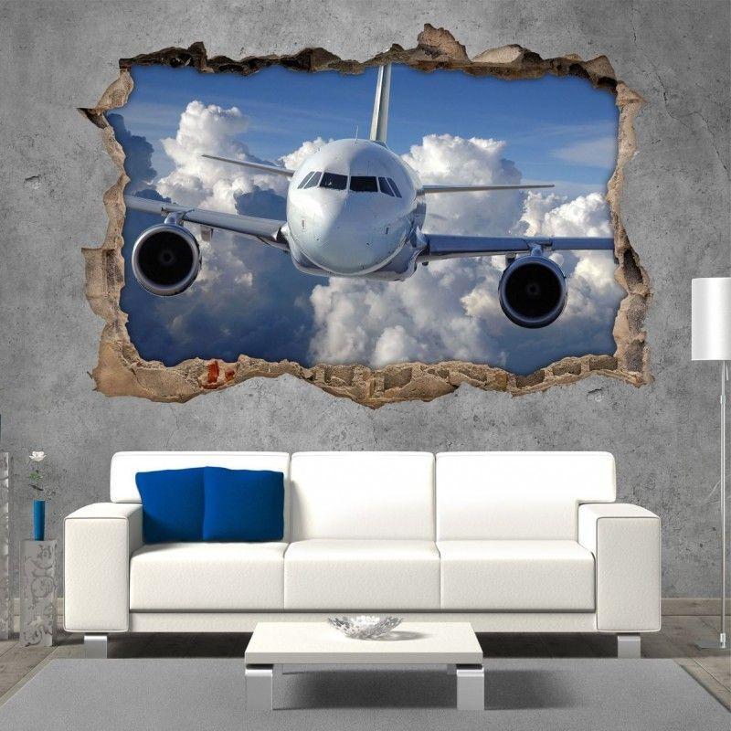 Vinilo Roto 3D Avión
